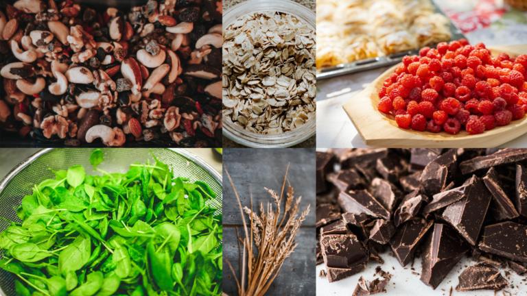 collage 10 gesunde lebensmittel schokolade hafer tee vollkorn gemuese nuesse leinsamen